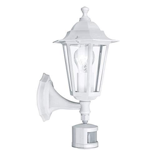EGLO Außen-Wandlampe Laterna 5, 1 flammige Außenleuchte inkl. Bewegungsmelder, Sensor-Wandleuchte aus Aluguss und Glas, Farbe: Weiß, Fassung: E27, IP44