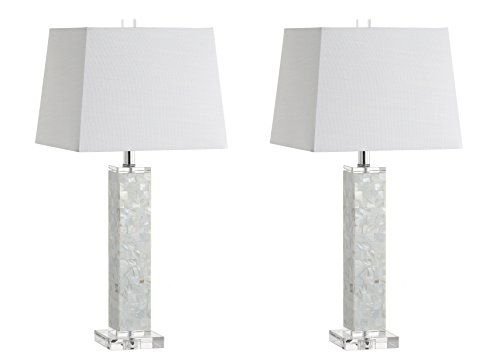 """JONATHAN Y JYL1053A-SET2 Noelle 28.5"""" Seashell LED Table Lamp Coastal,Contemporary,Transitional for Bedroom, Living Room, Office, College Dorm, Coffee Table, Bookcase, White(Setof2)"""