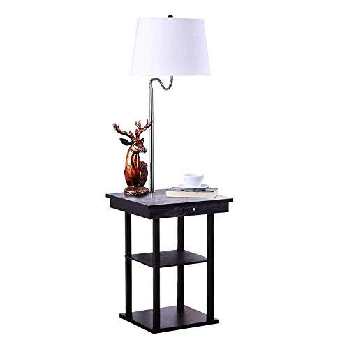 QIANGUANG Moderno, Mesita de noche Lámpara de pie LED Mesa de madera maciza, Estantería&USB Puerto Combinación, Sala Sofá Oficina Cabecera Mesa Lámpara(Bombilla no incluida)