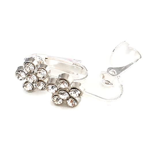 MNQ bijoux Pendientes de clip para niña, sin agujeros, diseño de flor, brillantes, incoloros, con botones transparentes