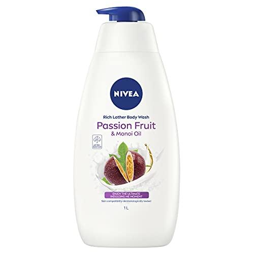 NIVEA Passionfruit & Monoi Oil Moisturising Shower Gel & Body Wash, 1L,