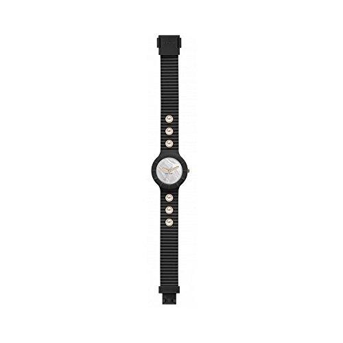 Orologio HIP HOP donna PEARLS quadrante bianco e cinturino in silicone, glam nero, movimento SOLO TEMPO - 3H QUARZO