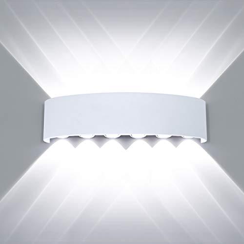 HAWEE Moderno Impermeable Luz de Pared LED Apliques de Pared Aluminio LED Bañadores de Pared Interior Exterior para Baño, Porche, Pasillo, Escaleras, Dormitorio, Sala de Estar, KTV, 12W Blanco