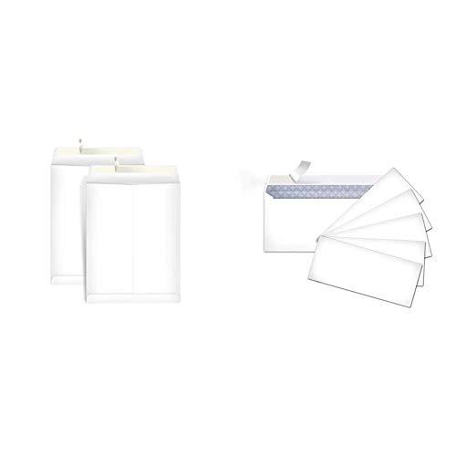 AmazonBasics Catalog Mailing Envelopes, Peel & Seal, 9x12 Inch, White, 250-Pack - AMZA33 & #10 Security-Tinted Envelopes with Peel & Seal, White, 500-Pack