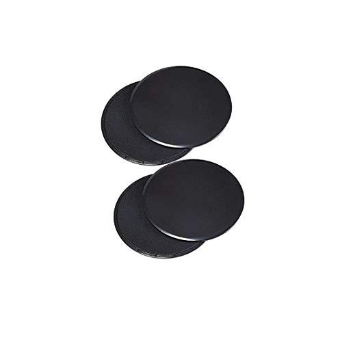 KingBra Core Sliders Ejercicio de doble cara uso en alfombras o suelos de madera dura, ideal para crossfit, entrenamiento abdominal, rutinas de entrenamiento (2 juegos), color negro
