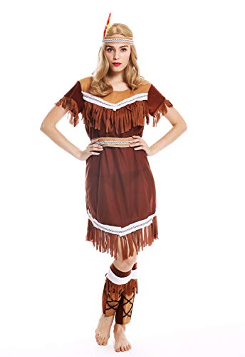 dressmeup - W-0211 Disfraz mujer feminino Halloween vestido largo nativa americana indgena india Talla M