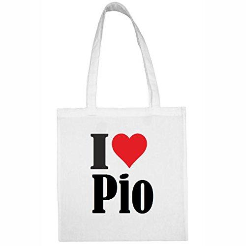 Tasche I Love Pio Größe 38x42 Farbe Weiss Druck Schwarz