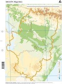 Mapa físico de Aragón (Mapas mudos)