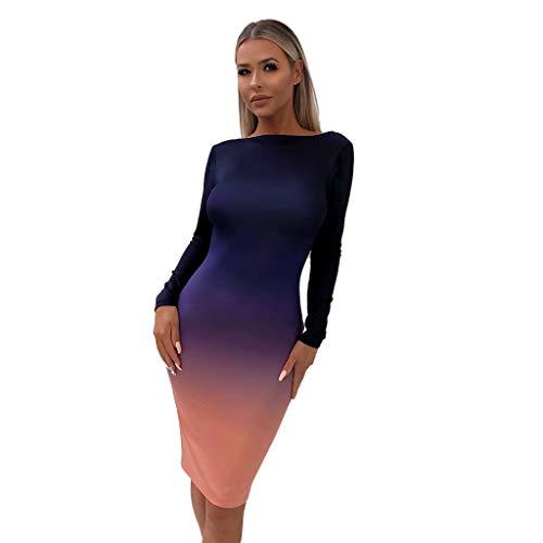 Jupe Crayon Taille Haute Moulante ELECTRI Robe De Soiree Femme Longue Chic Bleu Royale Élégant Extensible Robe de Soirée Dos Nu Empire DéGradé De Couleur