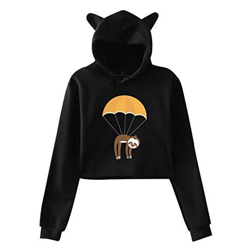 Sac Parachute Paresseux Chat Oreille À Capuche Chandail Filles Crop Top Hip Hop Warm Cool(XXL,Noir)