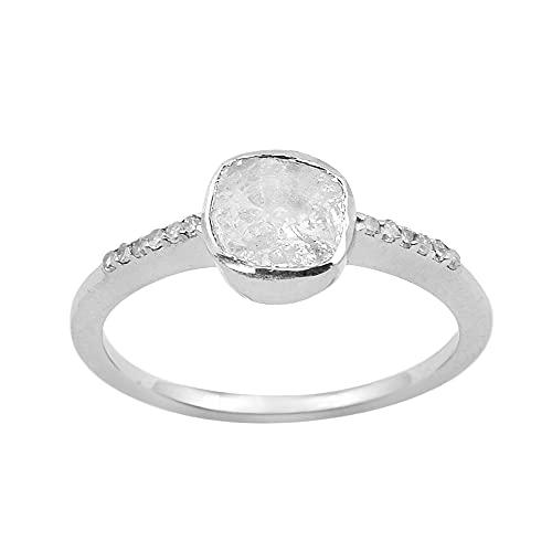 0.25 CTW Anillo solitario de diamante Polki sin cortar natural Plata de ley 925 (22.5)