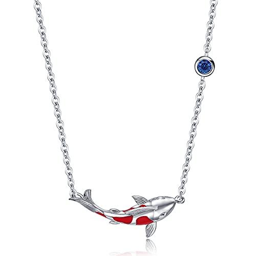 Qings Damen Halskette Koi Karpfen Kette 925 Sterling Silber Glückliche Rote Fisch Anhänger Halskette Ozean Tier Modeschmuck für Frauen Mädchen Tochter