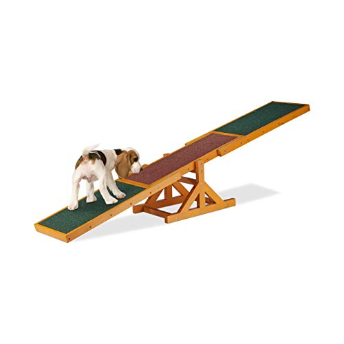 Relaxdays Colourful Wooden Pet Seesaw for Big and Small Dogs, Equipment for Agility and Obedience...