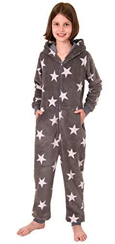 Meisjes jumpsuit overall pyjama lange mouwen - sterrenmotief - 291 467 97 961, Kleur: grijs, Maat: 128