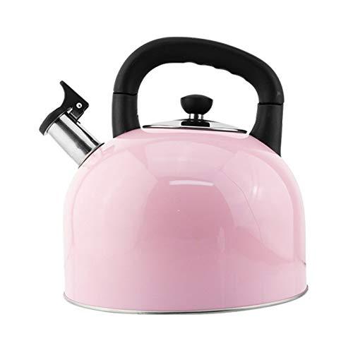 tea kettle Edelstahl 4-5 Liter Teekocher, ergonomischer Pfeifkochkessel, geeignet für Verschiedene Öfen Rosa/Grün/Blau (Farbe : Rosa, Größe : 5L)