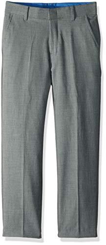 Izod boys Patterned Flat Front Dress Pant, Sharkskin Light Grey, 12