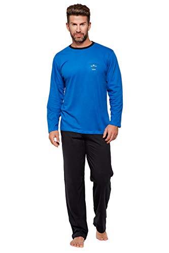 Hyund Langer Schlafanzug Blau mit Motiv Hose schwarz Gr. 50/M langer Pyjama püjama langarm baumwolle Größe 46/48 50/52 54/56 58/60 langer Schlafanzug
