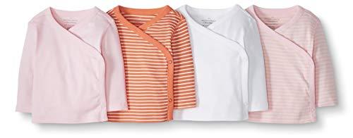 Moon and Back de Hanna Andersson - Pack de 4 camisetas de manga larga con cierre lateral hechas de algodón orgánico para bebé, Rosado, 0 messes (45 CM)