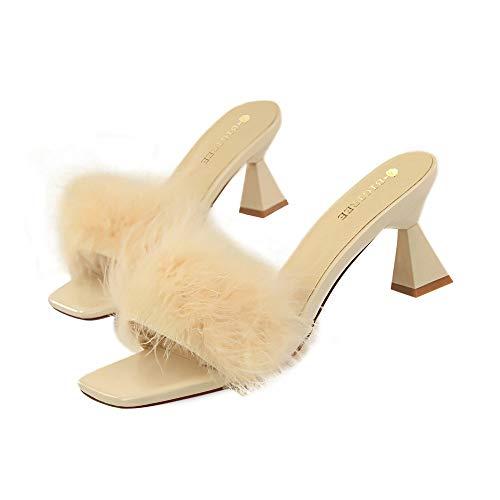 QBAMGGX High Heels Pumps 2019 Hausschuhe Satin Feder Flauschige Hausschuhe Frauen mit dicken high Heel quadratischen Kopf geschlossen high Heels, 6,5 cm (Color : Beige, Size : 40)