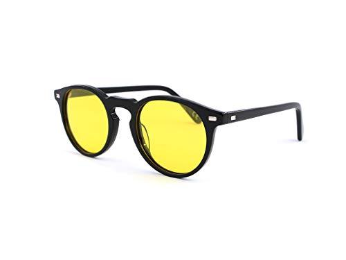 SUN LOVERS Gafas de sol redondas unisex para gafas de sol acetato, gafas de hombre polarizadas para hombres y mujeres