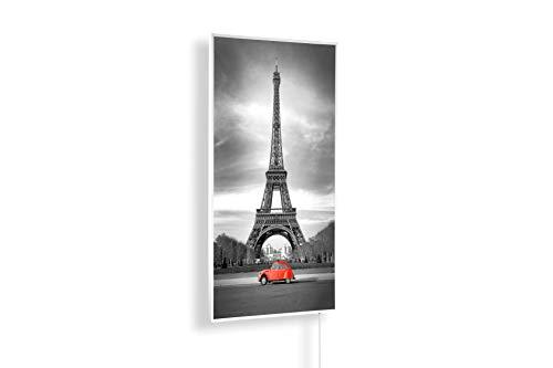 Könighaus 1000W Bildheizung (Infrarotheizung mit hochauflösendem Motiv) (1000W-Eiffelturm Schwarz-Weiß & roter) - inkl. Thermostat