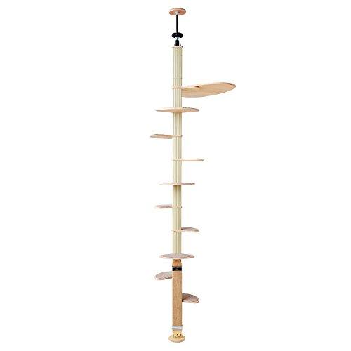 オーエフティー キャットバンテージ プラス デザイナーズキャットタワー 麻製爪とぎ付き スペース最小限 省スペース ステップ10枚 サイズ(約):幅61×奥61×高232~252cm 重量(約)7.5kg 猫