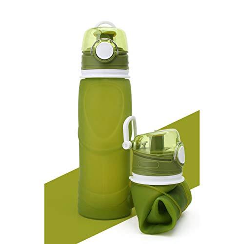 CLGTY Botella de Agua Plegable Silicona Botella Deportiva Gran Capacidad Prueba de...