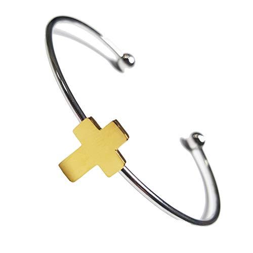 Jewels ZOPPINI Bracciale Rigido Donna Acciaio Aperto con Croce Color Oro E Piccole Sfere alle ESTREMITA' del Bracciale