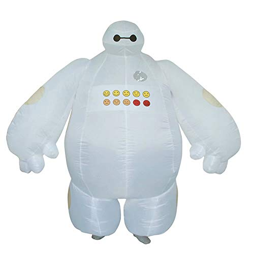 Disfraz Inflable Baymax Divertido para Adultos Superhéroe Baymax Party Cosplay para Hombres Mujeres Unisex Fancy Mascot Dress General - 160-190 cm de Altura (con soplador de Aire ● - ●)