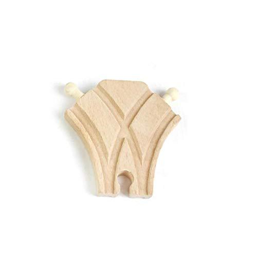 Heall 1Pc Holz Schalter Spur hölzerne Schienen-Zubehör Curved Schalter Spur Holzschienen Zusatz für Spielzeug-Zug (B)