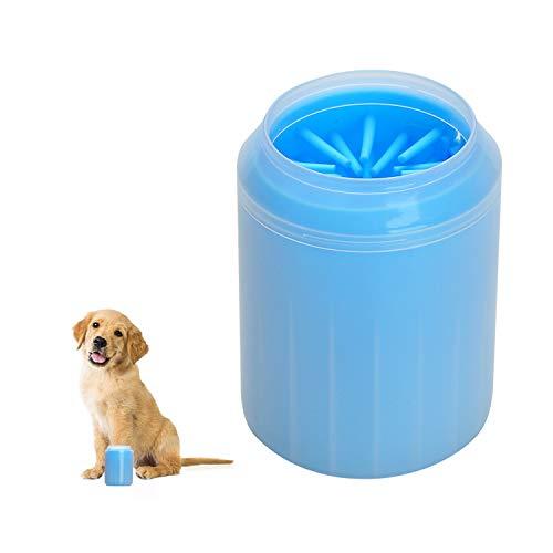 048-TPE 新品 TOWEAR Limpiador de patas de perro, gato, cachorro, cepillo de silicona desmontable para limpiar la huella de barro de arena sucio para la mascota activa (M, azul)