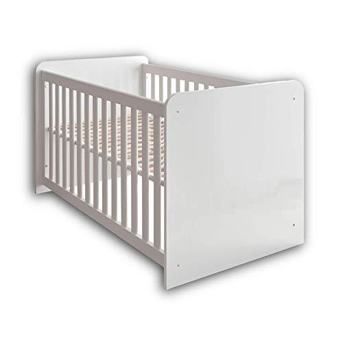 Stella Trading MARA Sicheres Babybett mit 70 x 140 cm Liegefläche - Schönes Baby Gitterbett für einen geborgenen Schlaf in Hochglanz weiß - 81 x 82 x 144 cm (B/H/T)
