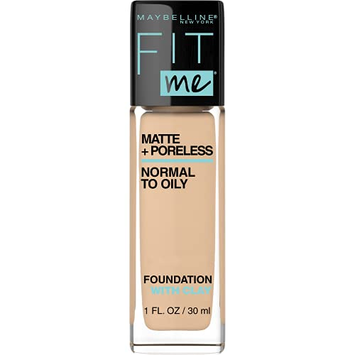 Maybelline Fit Me Matte + Poreless Liquid Foundation Makeup, Natural Beige, 1 fl; oz; Oil-Free Foundation
