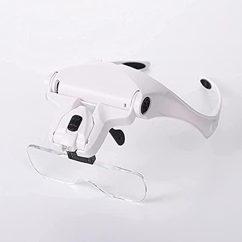 dh-3 Lupa de Manos Libres con iluminación LED montada en la Cabeza con 5 Lentes Desmontables, cómoda Lupa de Manos Libres, para Lectura, Mantenimiento electrónico, Costura