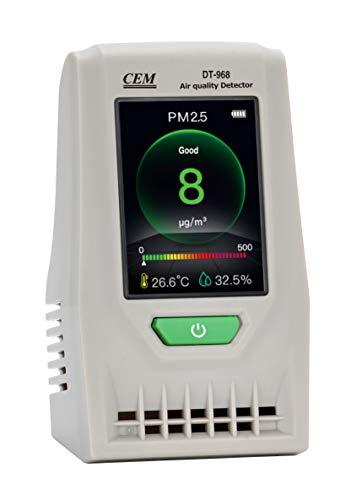 CEM Luftqualität-Messgerät DT-968, Testgerät für Feinstaub (PM2,5, PM10), Luftqualität Messgerät-Hydrometer Feuchtigkeit Temperatur und Luftfeuchtigkeitsmesser, Raumluftüberwachung【3 Jahr Garantie】