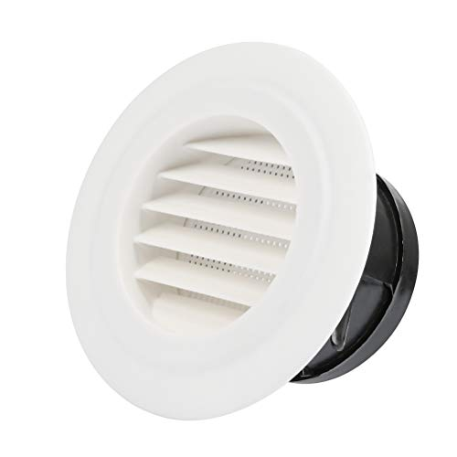 FOCCTS Air Vents 4 Inch(95mm) Circular Soffit Vent ABS Round Vent Louver Grille Cover with Built-in Fly Screen Mesh for Kitchen, Bathroom, Office