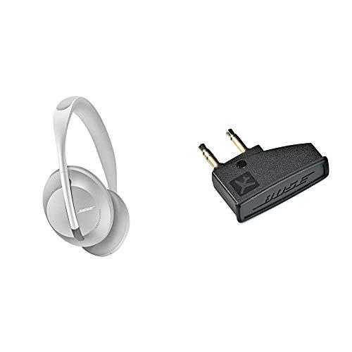 Auriculares inalámbricos Bluetooth Bose Noise Cancelling Headphones 700, con Control por Voz de Alexa, Plata + Bose QuietComfort 3 - Adaptador para avión