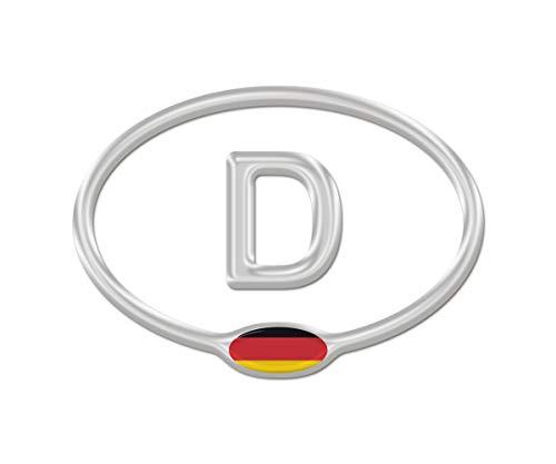 AG Design A-C-9429 3D sticker Duitsland met vlag DE 12,5x9 cm - zilver