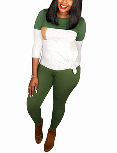 Long Sleeve 2 Piece Outfits for Women Elbow Patch Pullover Tops and Skinny Long Pants Tracksuit Set Green X-Large