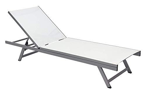 XONE Lettino richiudibile e reclinabile in textilene e Alluminio | Lettino Prendisole per Giardino, Piscina, stabilimento balneare con Schienale Regolabile 5 Posizioni | Dimensioni: 195×60×32.5cm