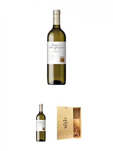 Teruzzi & Puthod Vernaccia di San Gimignano DOCG 0,75 Liter + Teruzzi & Puthod Vernaccia di San Gimignano DOCG 0,75 Liter + 1a Whisky Holzbox für 2 Flaschen mit Schiebedeckel
