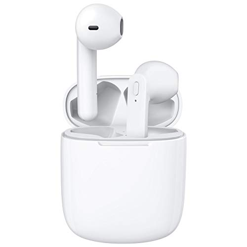 Hntmao True Wireless Earbuds, IPX6 Waterproof Bluetooth Earbuds, 31H Cyclic Playtime Headphones with Charging Case and mic for iPhone Android, in-Ear Stereo Earphones Headset for Sport White