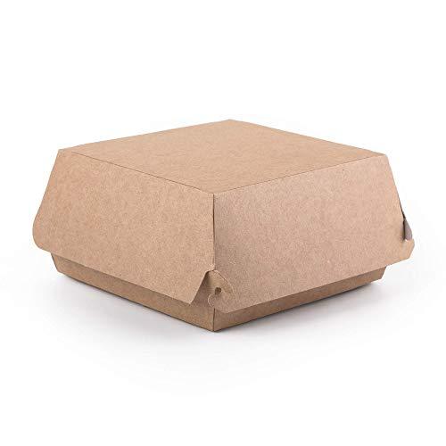 (100 Stück) Kraft Burger Boxen Größe M Lebensmittelbehälter Takeaway Fast Food Einwegbox Hamburger Auslaufsicher Umweltfreundlich Recycelbar (100, M)