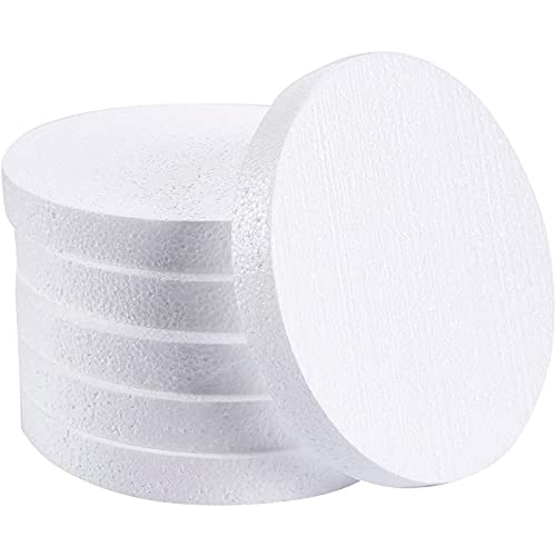 8 inch Foam Circles for Crafts, Round Discs for DIY Projects, Cakes and Decorations (1' thick, 6 Pack)