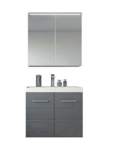 Badezimmer Badmöbel Toledo 02 60 cm Waschbecken Hochglanz Grau - Unterschrank Schrank Waschbecken Spiegelschrank Schrank