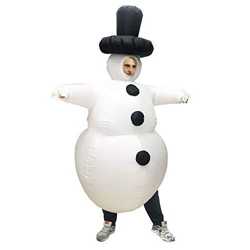 JJAIR Erwachsene Weihnachten Aufblasbare Schneemann-Kostüm, Partei-Abendkleid Bluse Overall