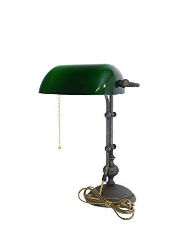 Antike Fundgrube Nostalgische Bankerlampe Messing brüniert mit grünem Glasschirm | Bankers Lamp Schreibtischlampe | höhenverstellbar Zugschalter (1889)