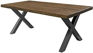 COMIFORT Mesa de Comedor - Mueble para Salon Oficina Despacho Robusto y Moderno de Roble Macizo Color Nogal Patas de Acer...