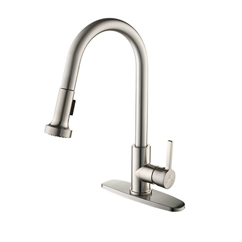 HOMELODY Commercial Brushed Nickel Kitchen Faucet, cUPC Certificated Kitchen Faucets with Pull Down Sprayer, Single Handle Laundry Kitchen Faucet with Deck Plate, High Arc Pull Out Utility Sink Faucet