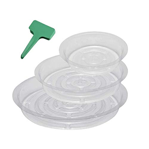 MMBOX 15-Pack Clear Plant Saucer Drip Trays, with 15 Pcs Plant Labels, Plastic Plant Pot Saucers Flower Pot Set for Indoor Outdoor Garden, Assorted Sizes - 6/8/10 Inch, 5 Pcs of Each Size
